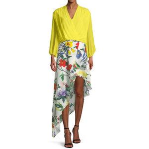New Alice + Olivia Silk Tiered Asymmetric Skirt